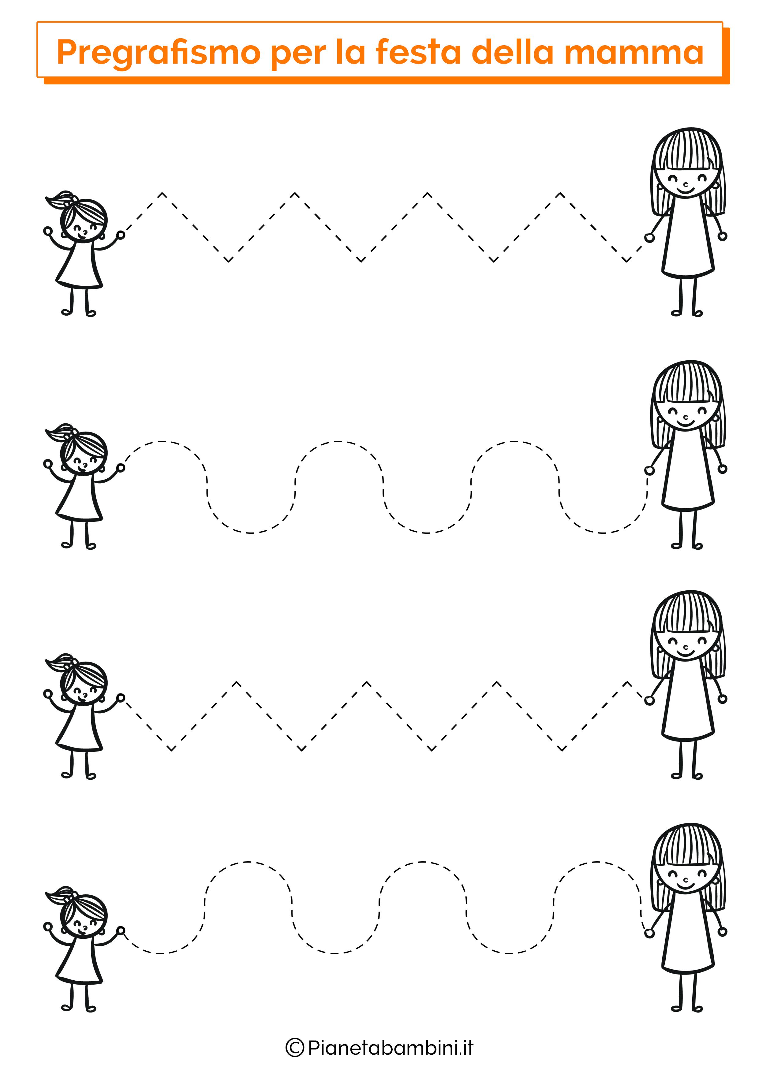 Scheda di pregrafismo festa della mamma linee orizzontali 1