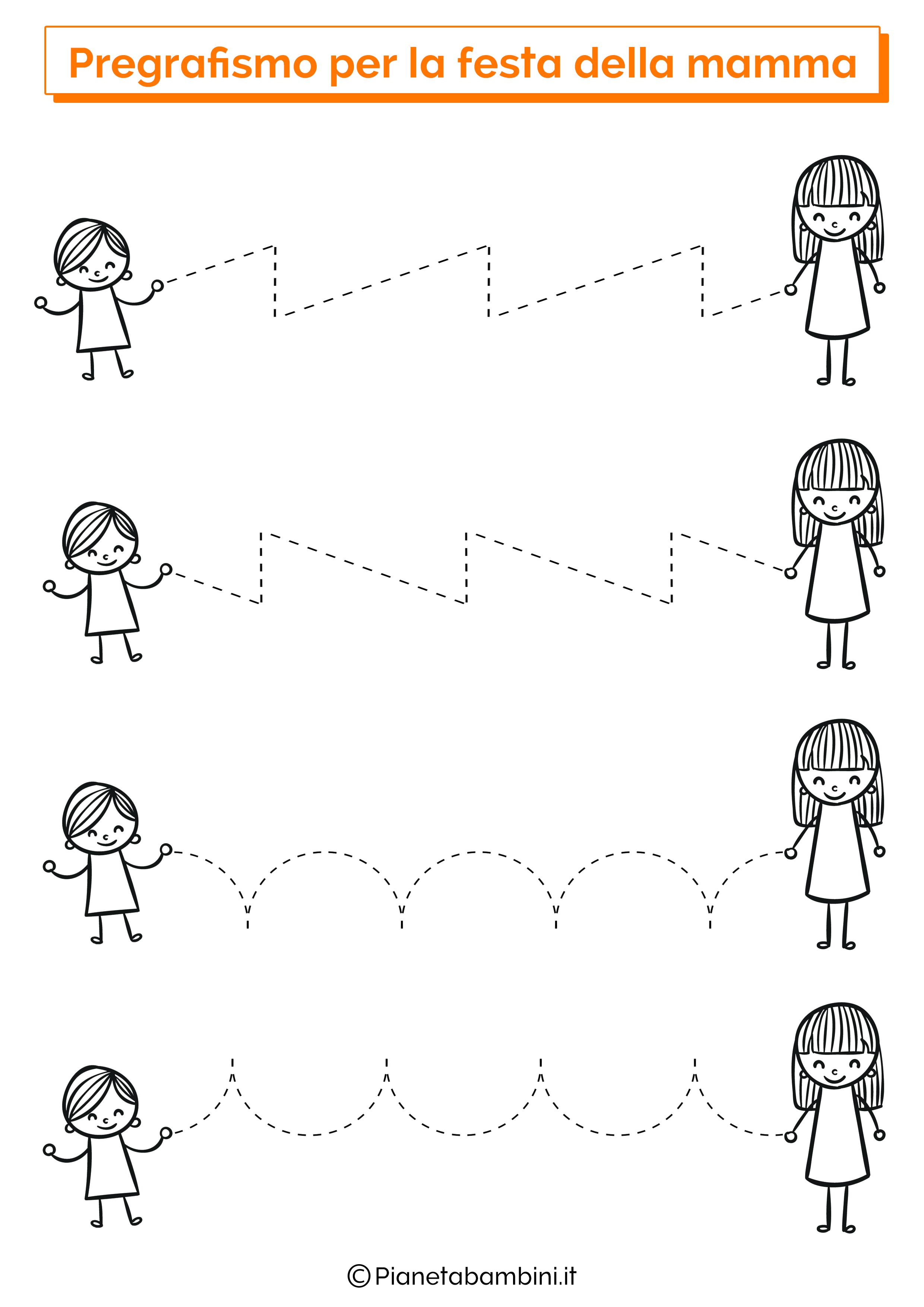 Scheda di pregrafismo festa della mamma linee orizzontali 2