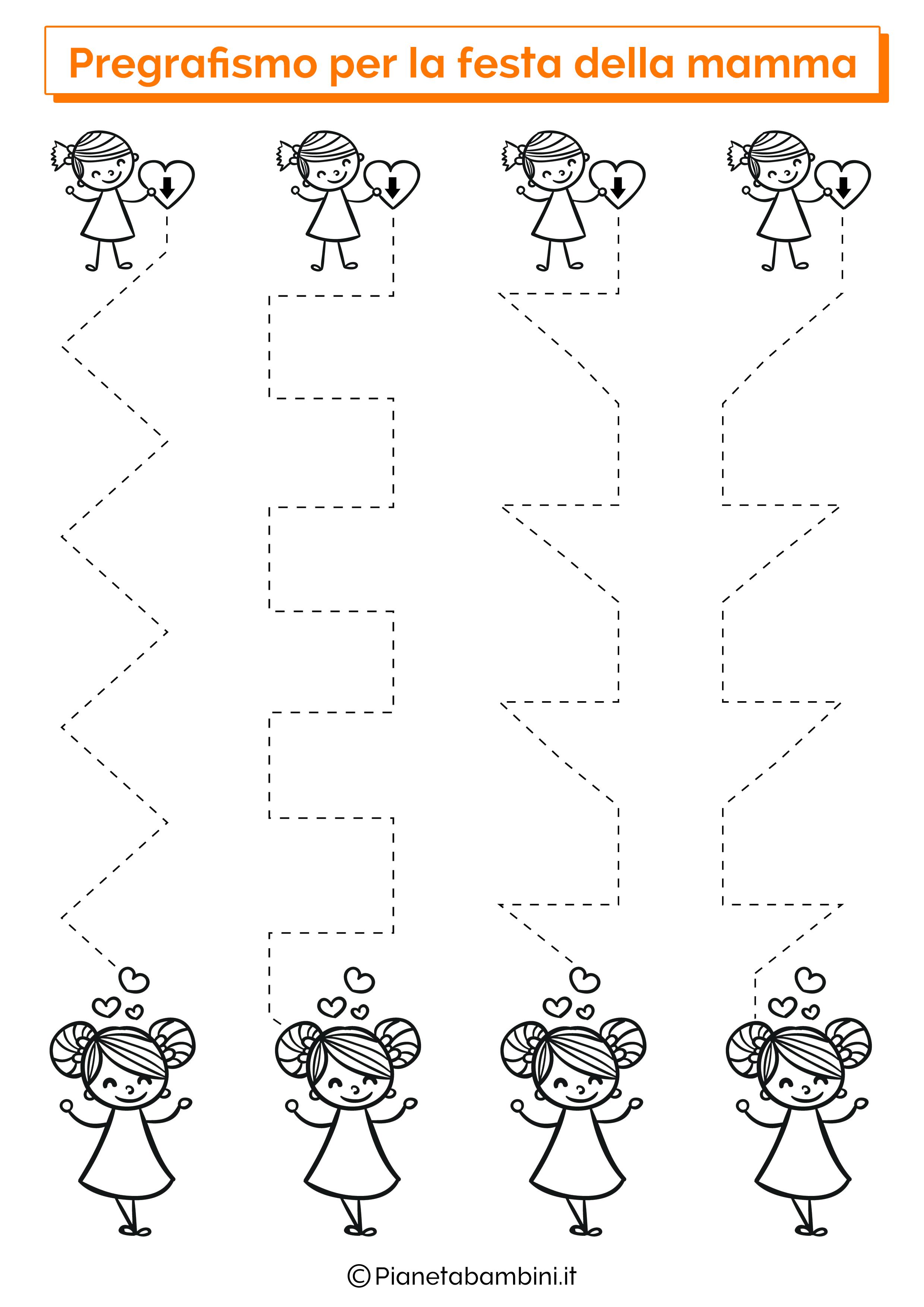 Scheda di pregrafismo festa della mamma linee verticali 2