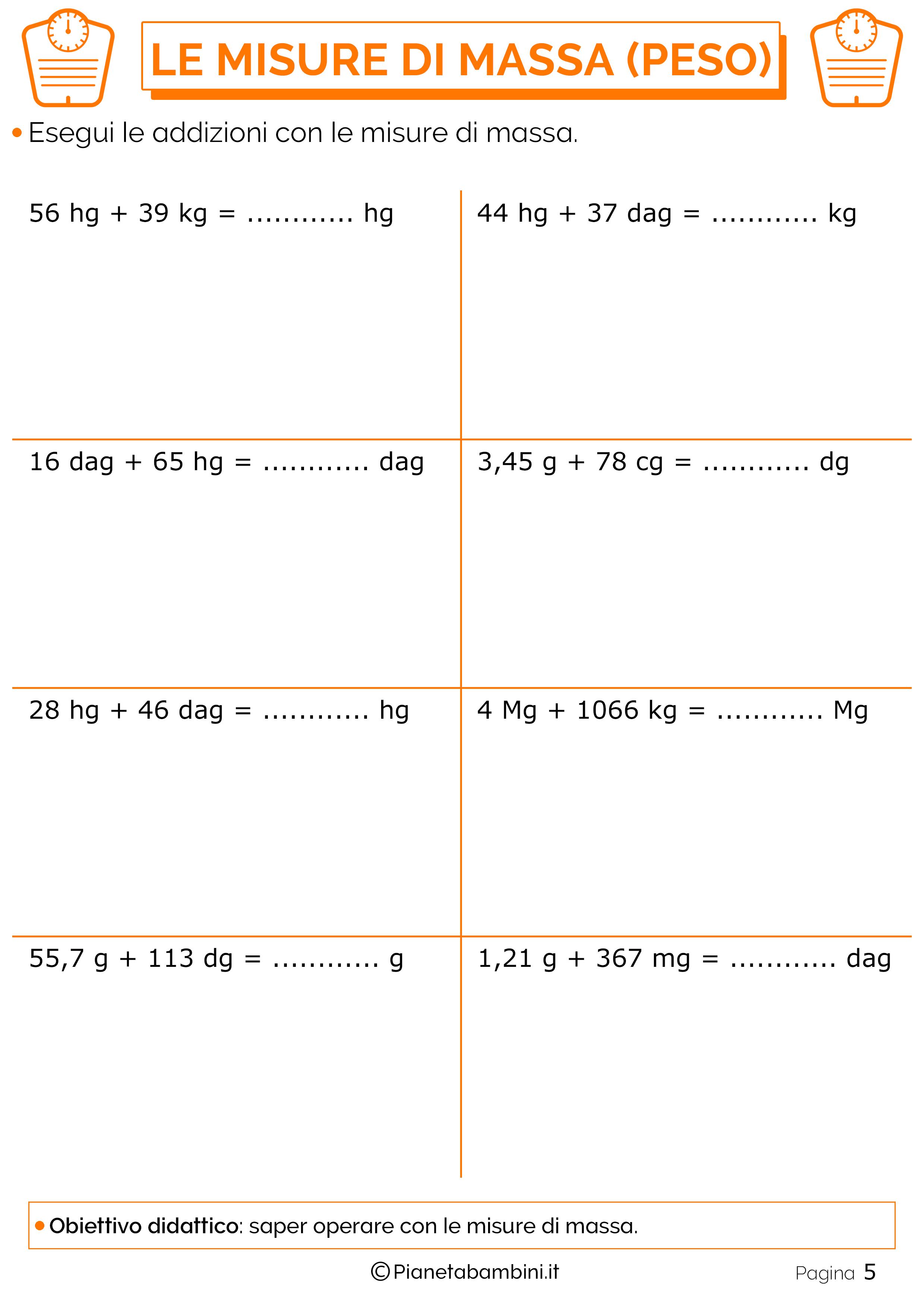 Addizioni-Misure-Massa-Peso