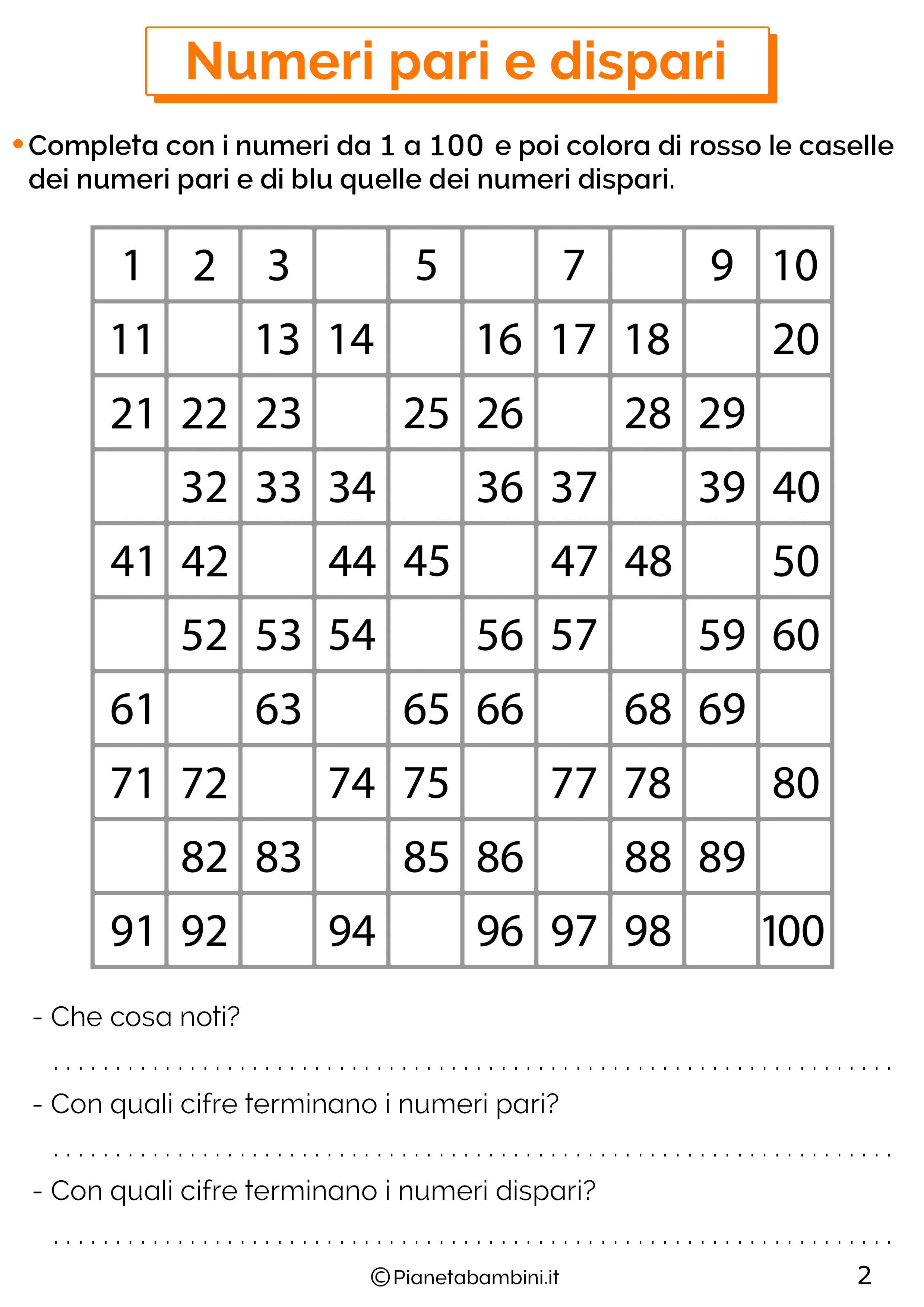 Scheda didattica sui numeri pari e dispari 2