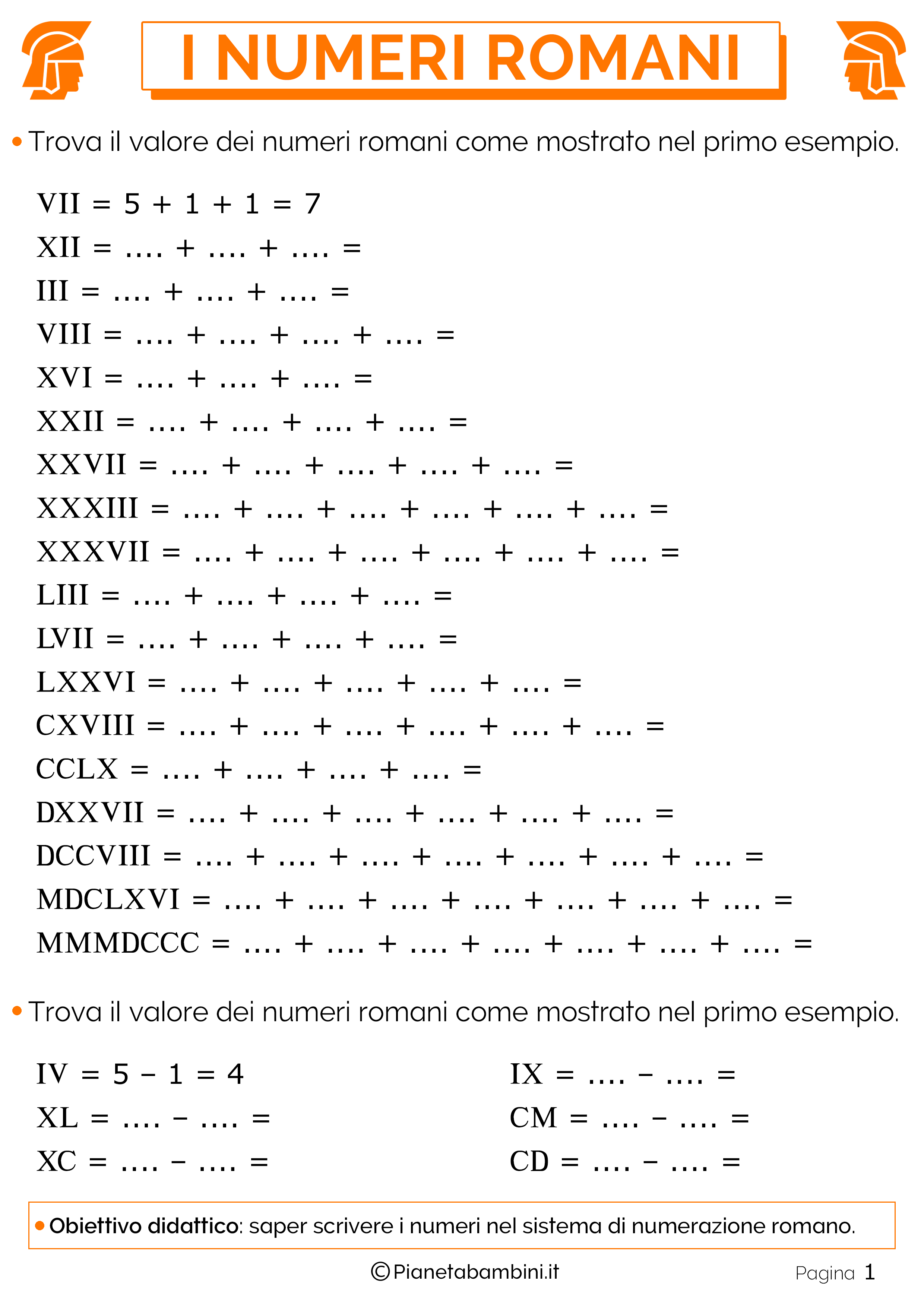 Estremamente Esercizi sui Numeri Romani per la Scuola Primaria | PianetaBambini.it IQ63