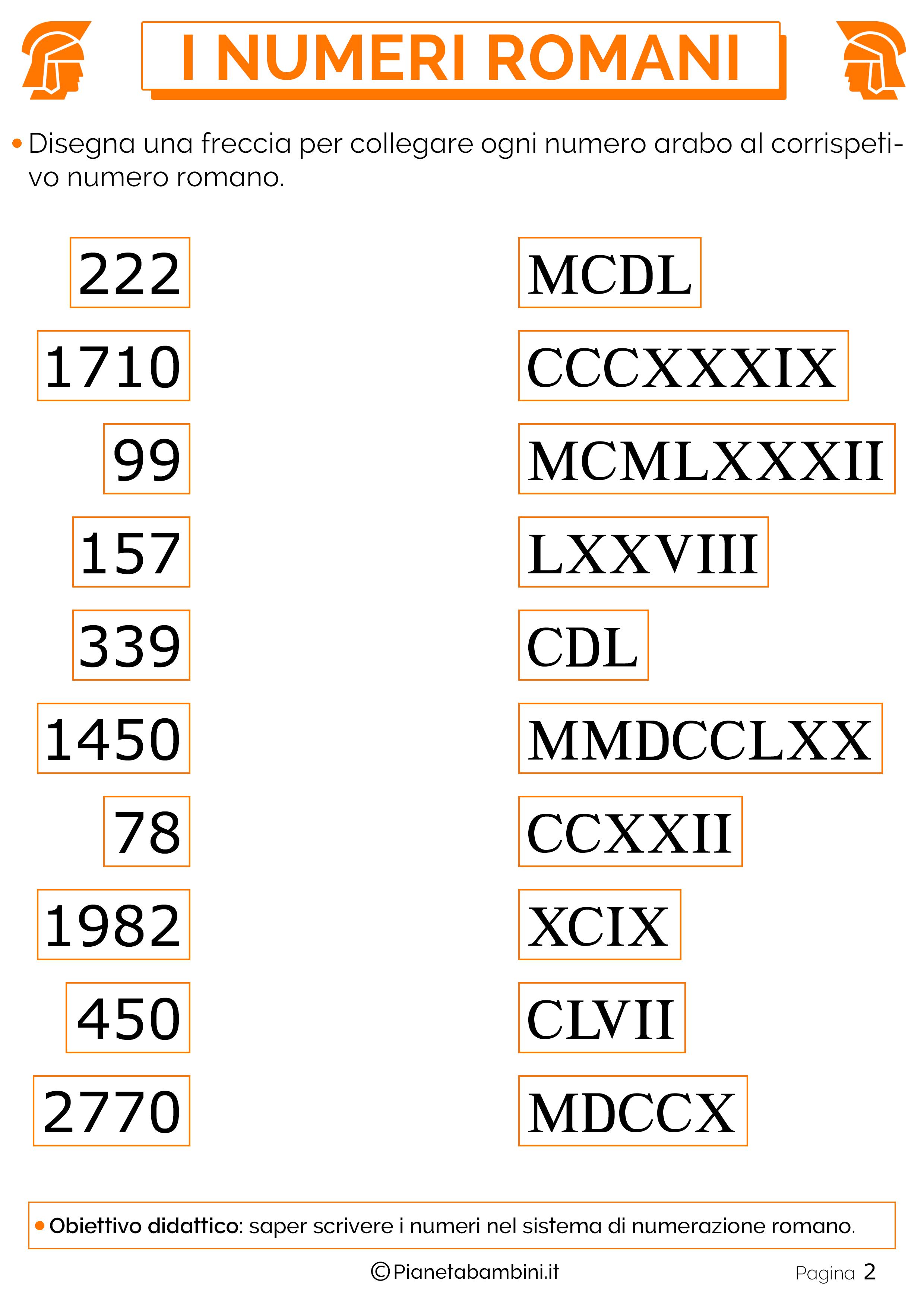 Eccezionale Esercizi sui Numeri Romani per la Scuola Primaria | PianetaBambini.it OD66