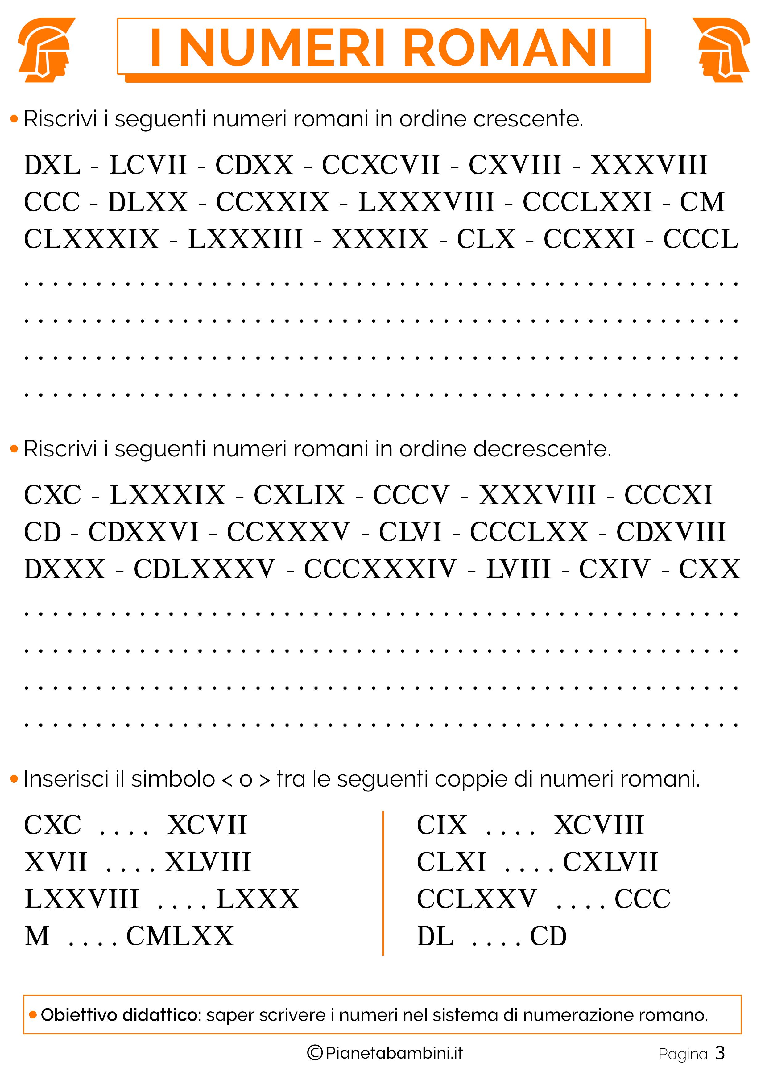 Estremamente Esercizi sui Numeri Romani per la Scuola Primaria | PianetaBambini.it SO29