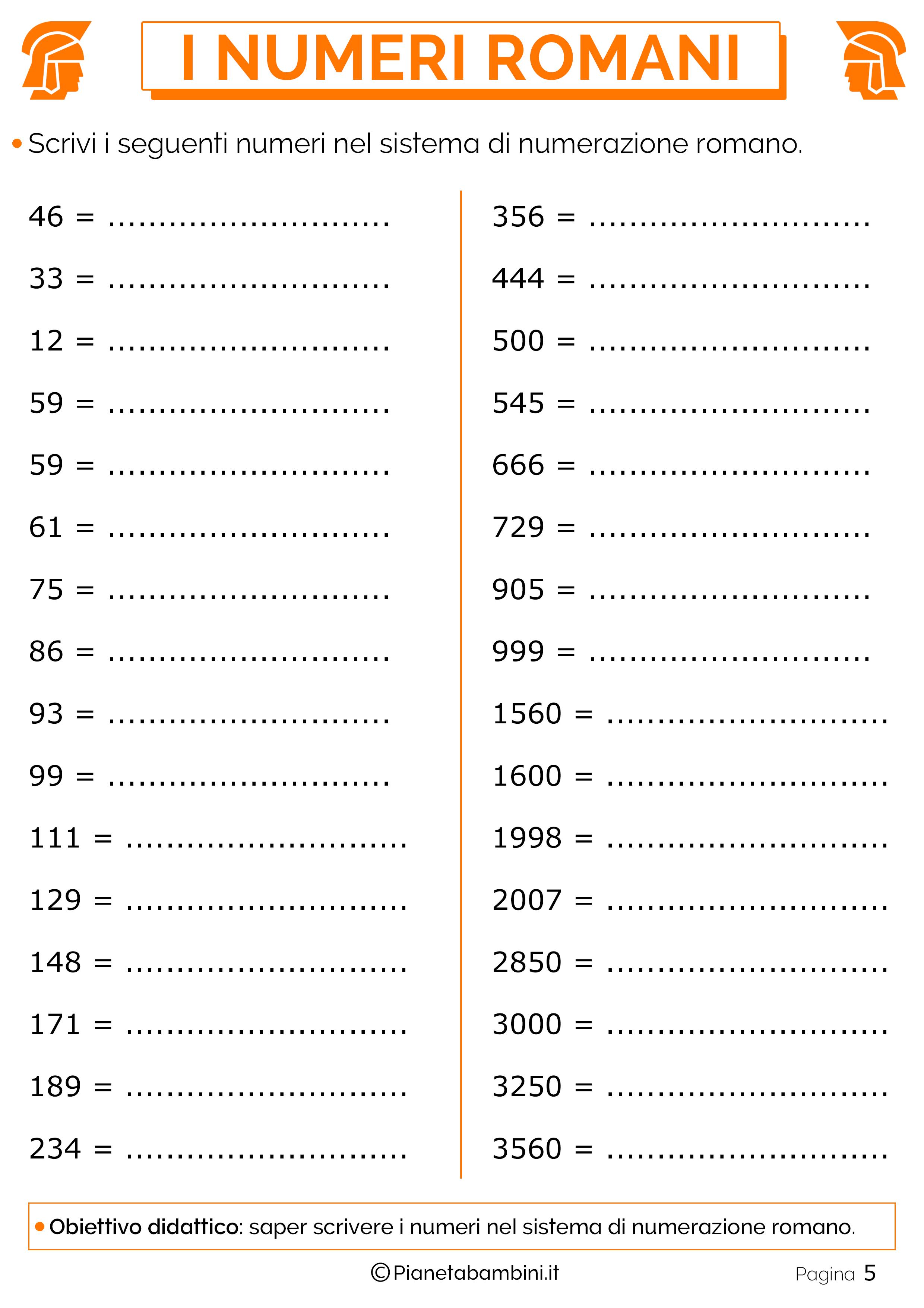 Conosciuto Esercizi sui Numeri Romani per la Scuola Primaria | PianetaBambini.it WO64