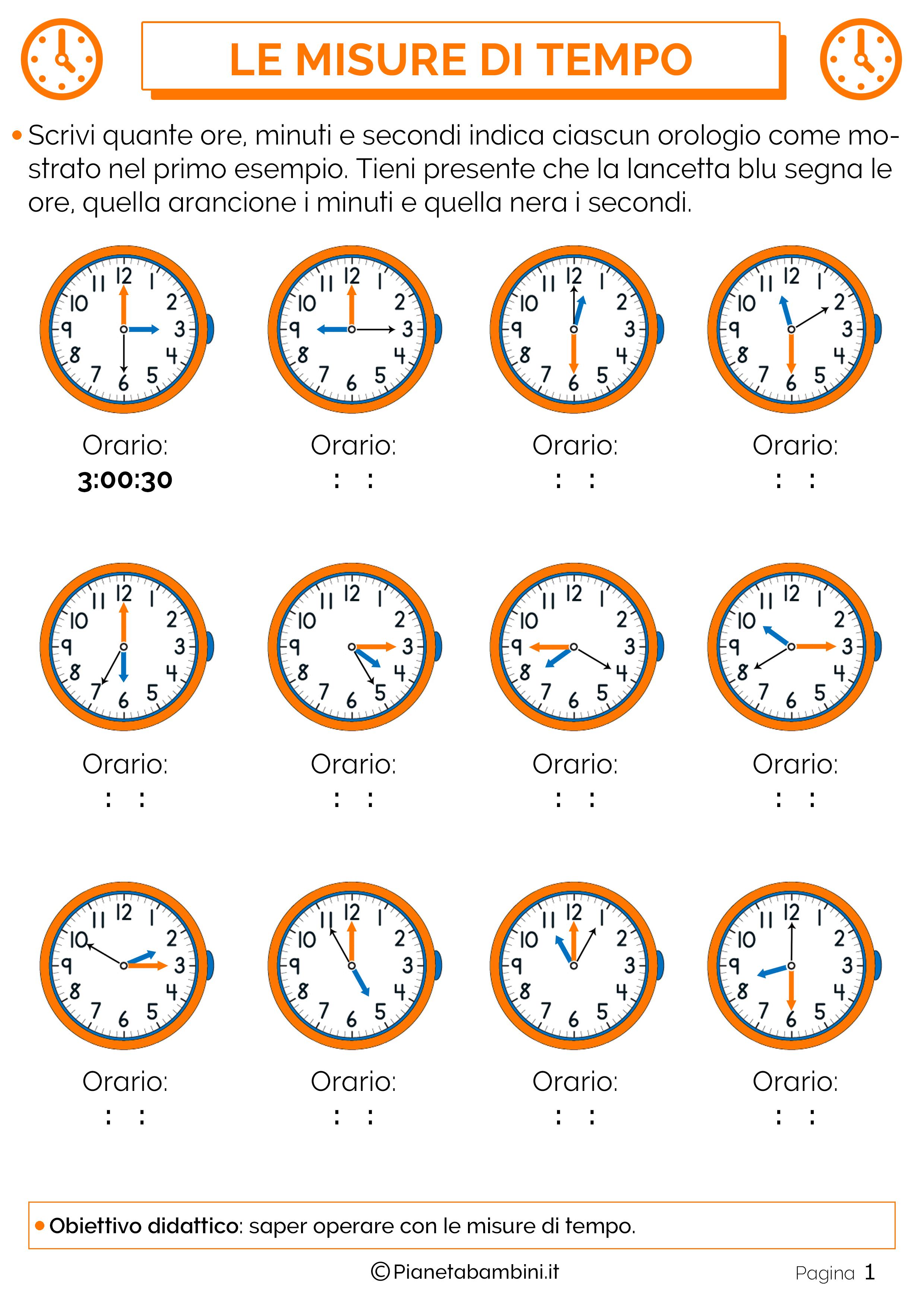 Eccezionale Tabella ed Esercizi sulle Misure di Tempo | PianetaBambini.it BL09