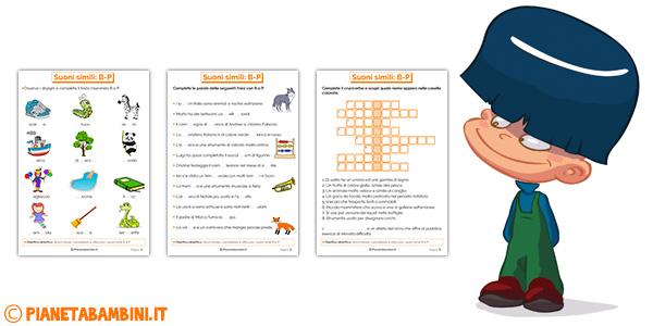 Schede didattiche su b e p per bambini della scuola primaria