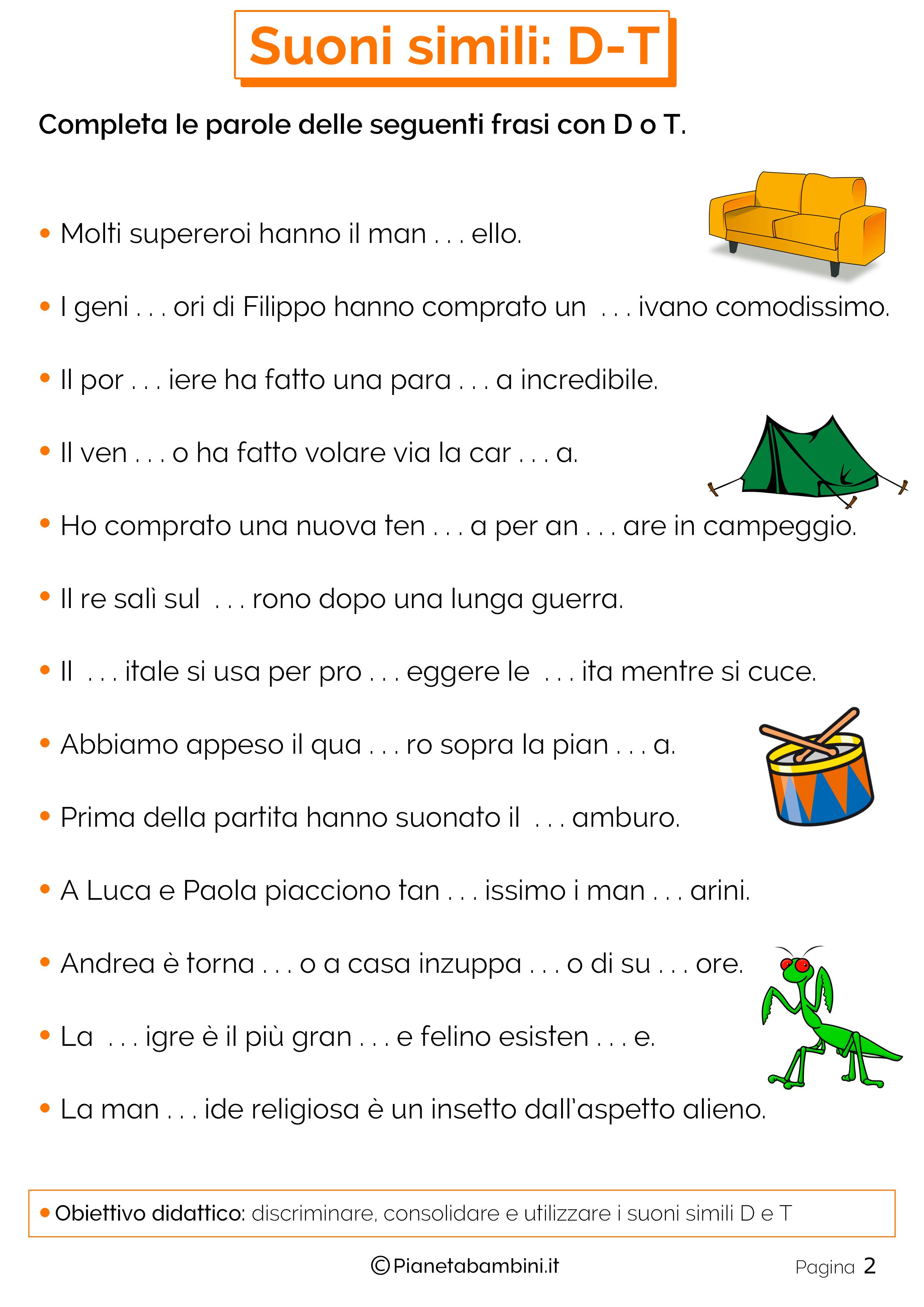 Schede didattiche sui suoni simili D o T pagina 2