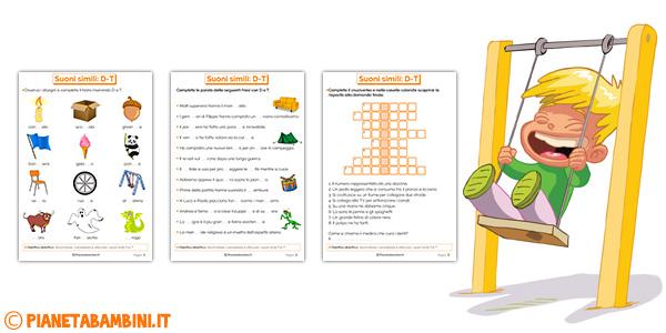 Schede didattiche su D-T per bambini della scuola primaria