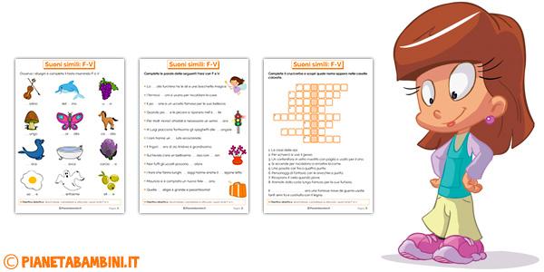 Schede didattiche su F e V per bambini della scuola primaria