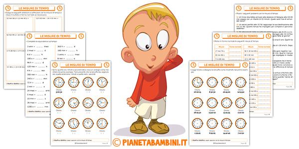 Tabella ed esercizi sulle misure di tempo per bambini della scuola primaria