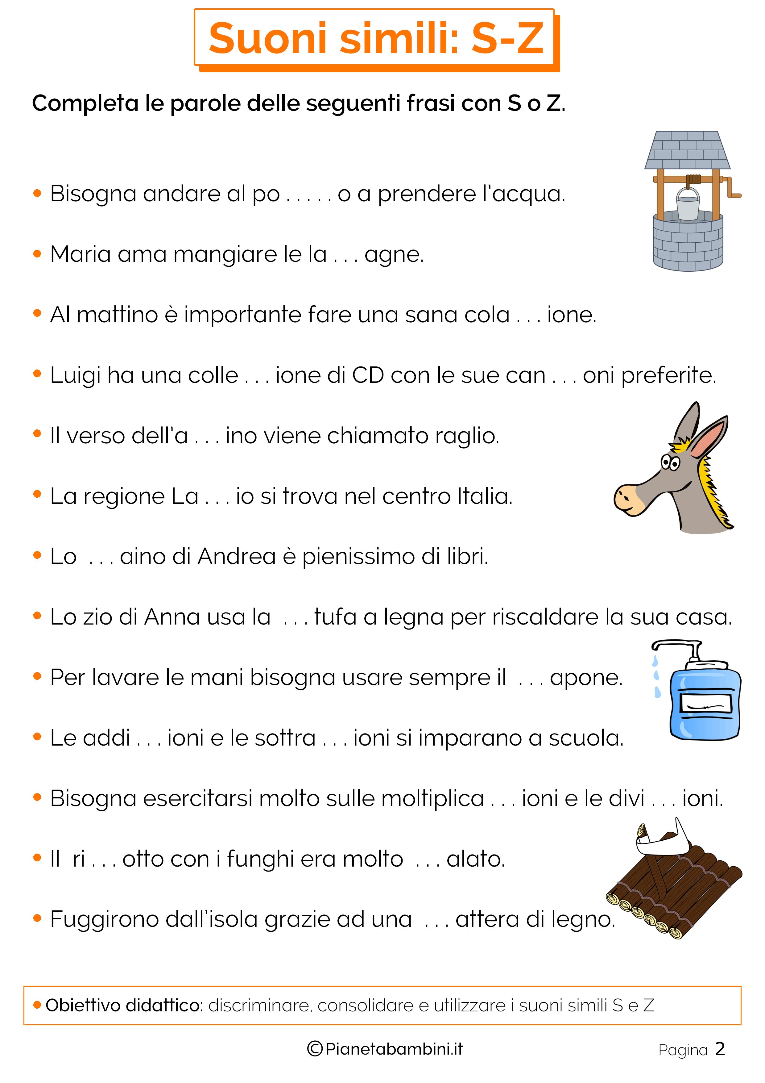 Favoloso Schede Didattiche su S-Z da Stampare | PianetaBambini.it JS88