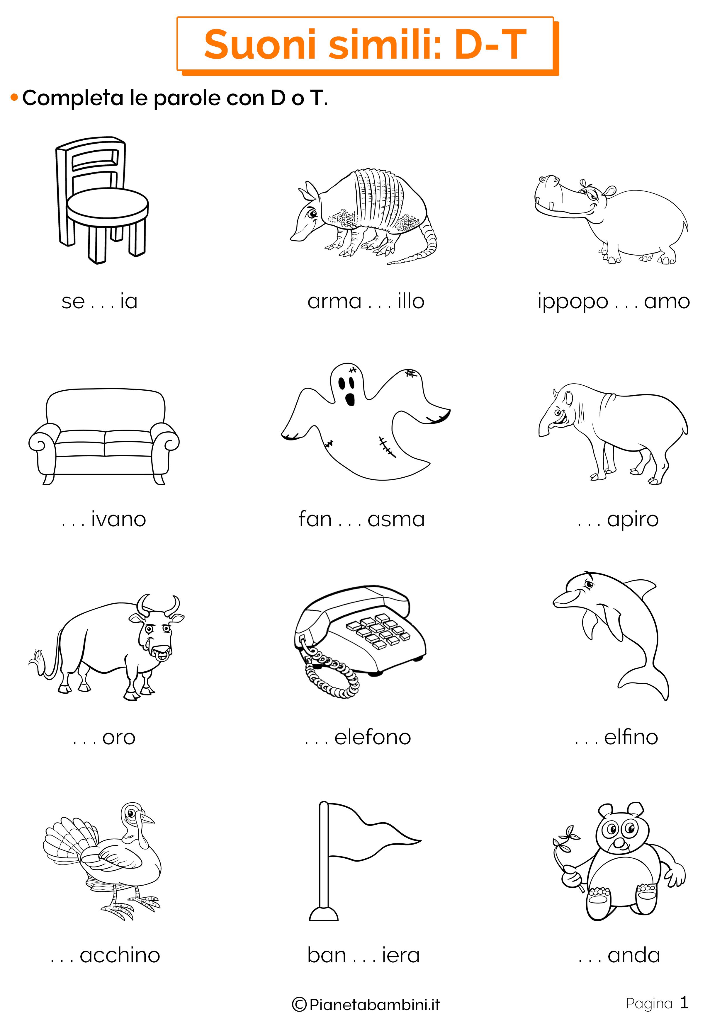 Schede didattiche sui suoni simili D o T pagina 1