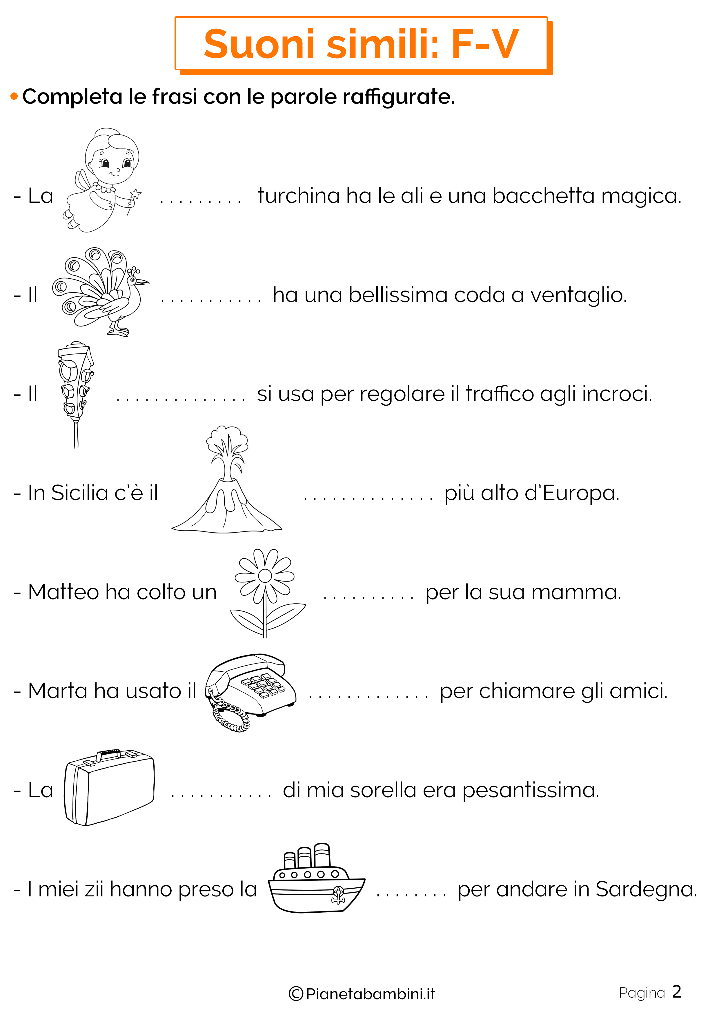 Schede didattiche sui suoni simili F-V pagina 2