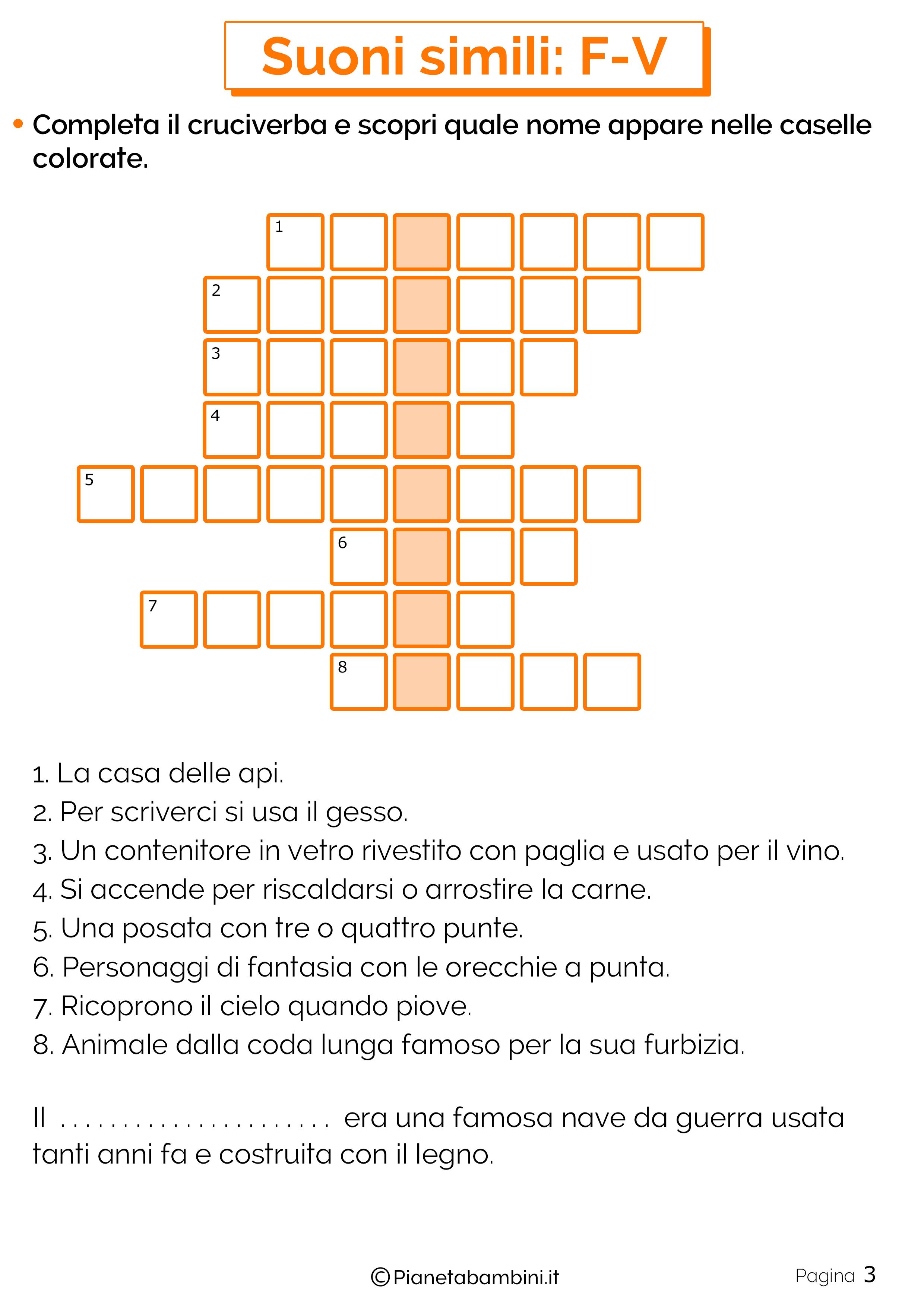Schede didattiche sui suoni simili F-V pagina 3
