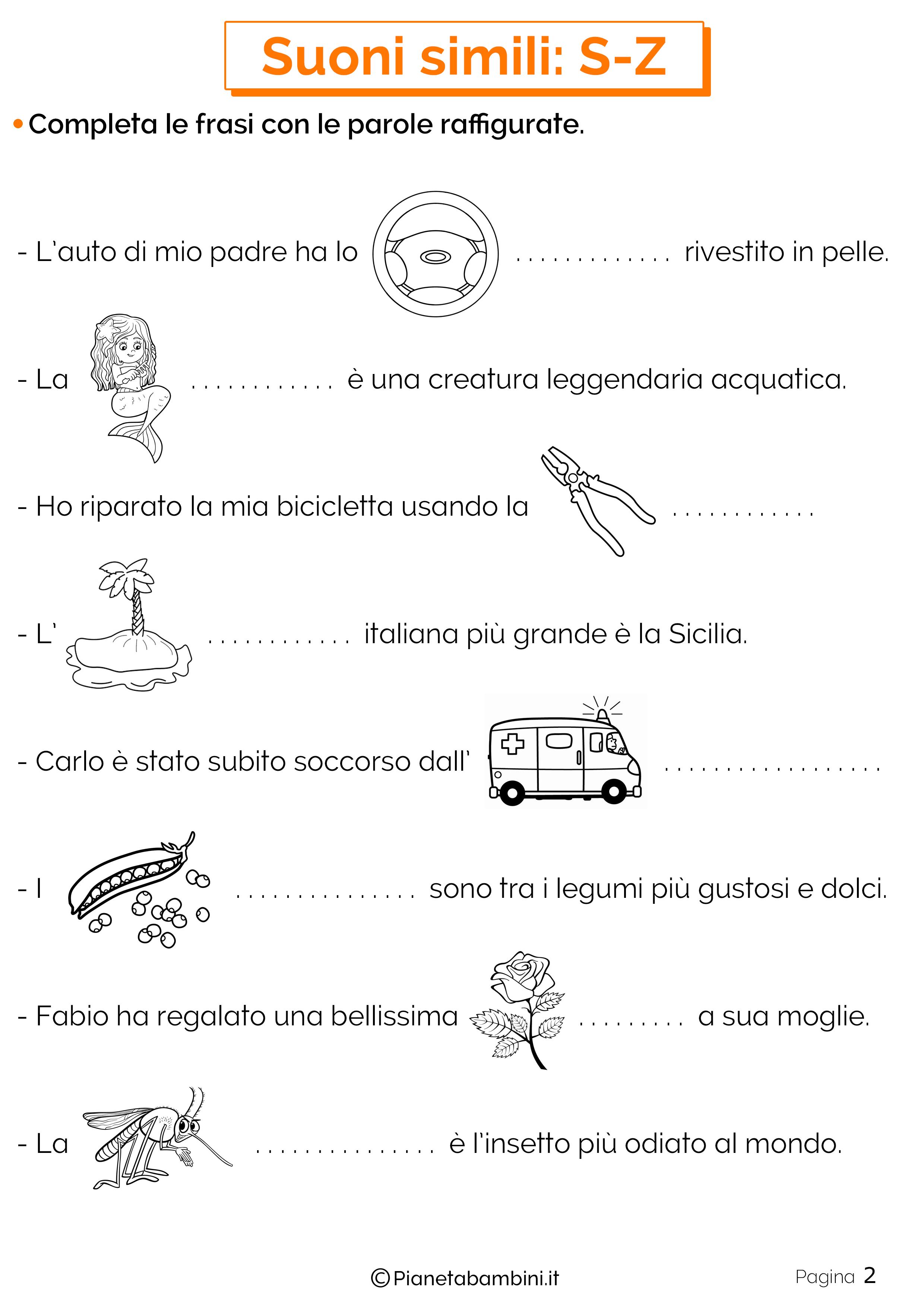 Schede didattiche sui suoni simili S o Z pagina 2