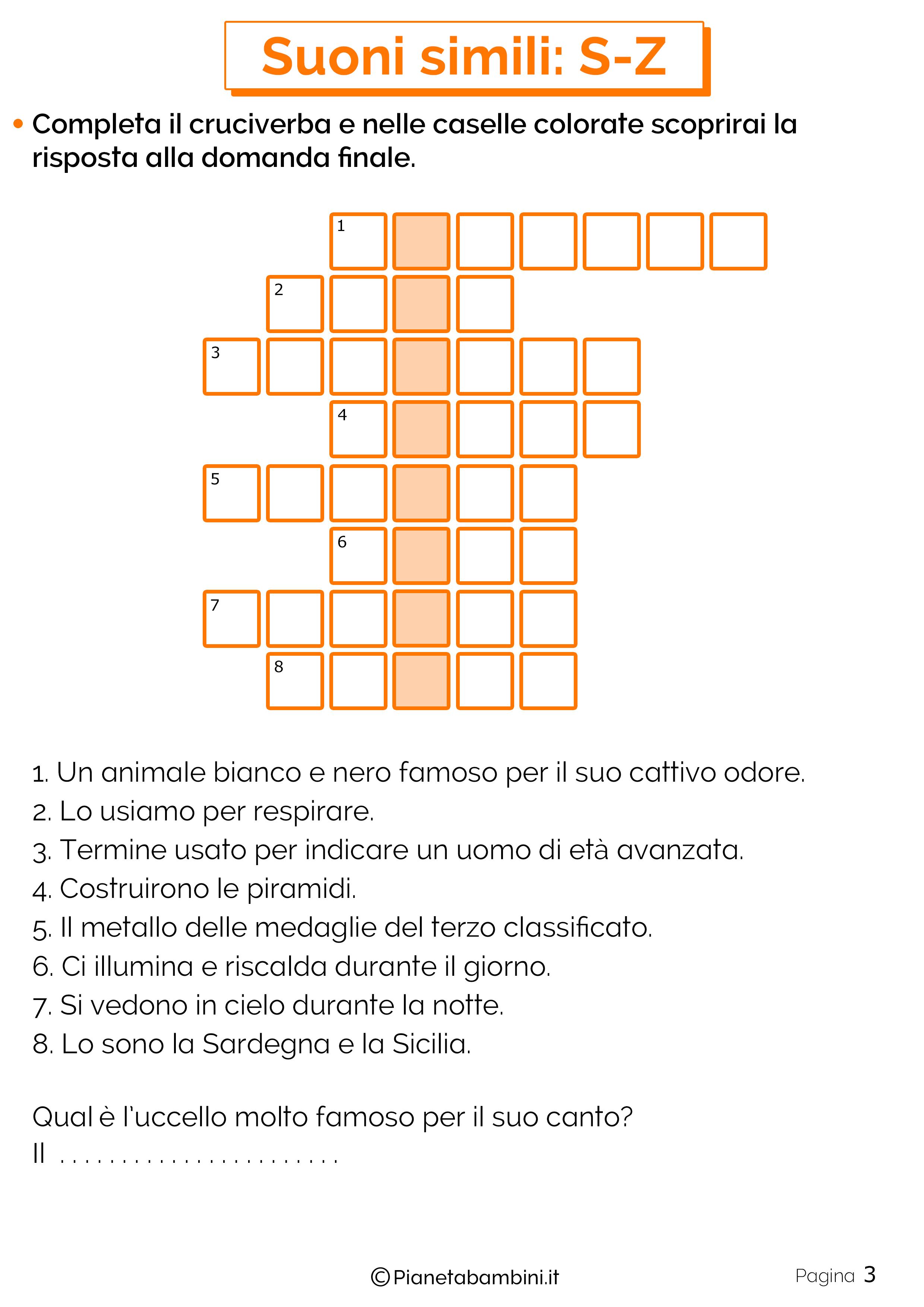 Schede didattiche sui suoni simili S o Z pagina 3