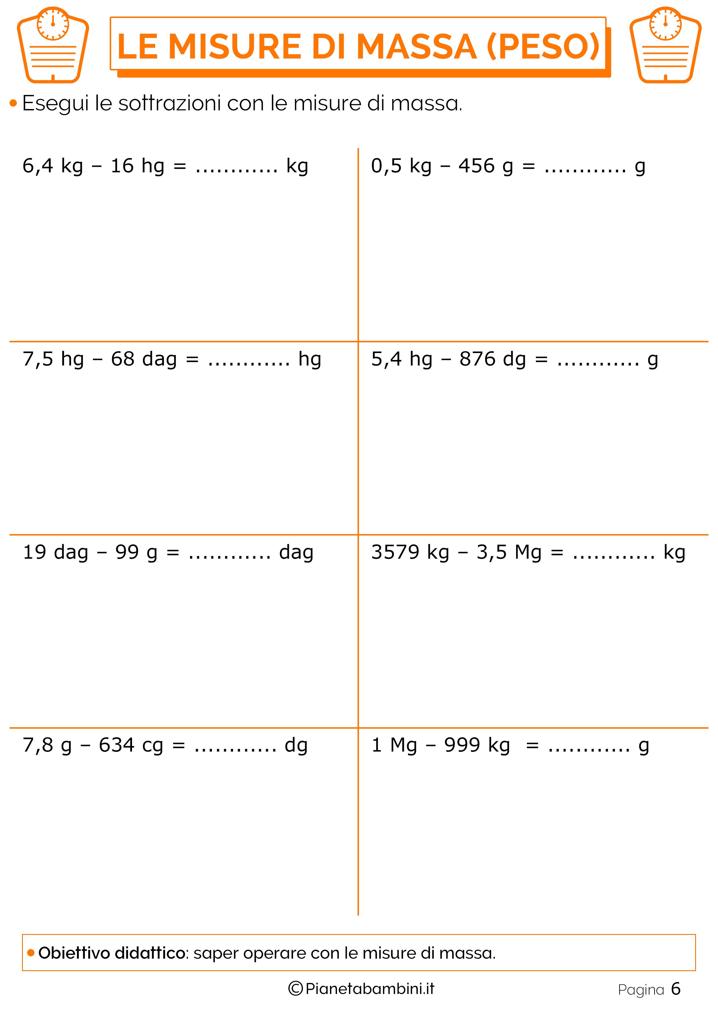 Sottrazioni-Misure-Massa-Peso