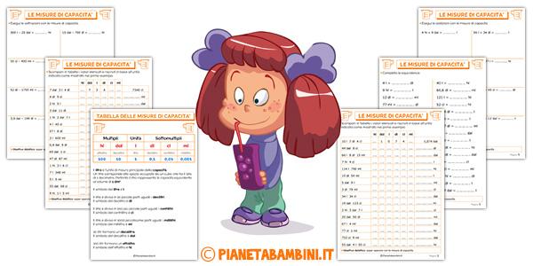Tabella ed esercizi sulle misure di capacità per i bambini della scuola primaria