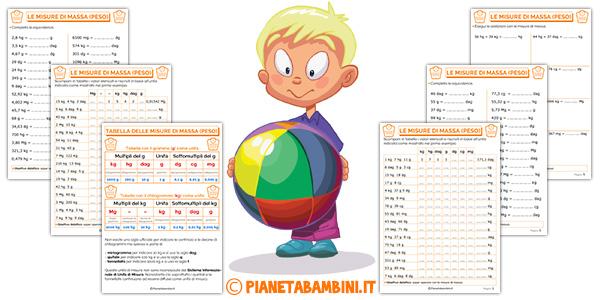 Schede didattiche sulle misure di massa (peso) per i bambini della scuola primaria