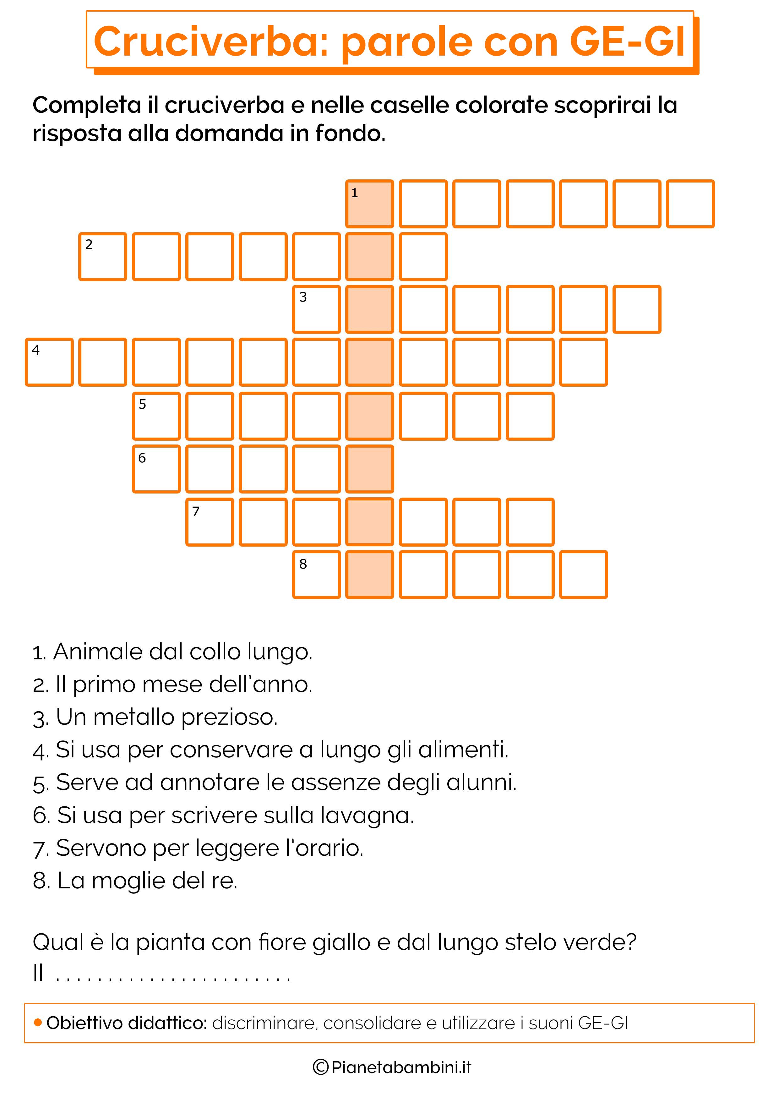 23 cruciverba per bambini di 6 7 anni su ortografia e for Parole con ge gi