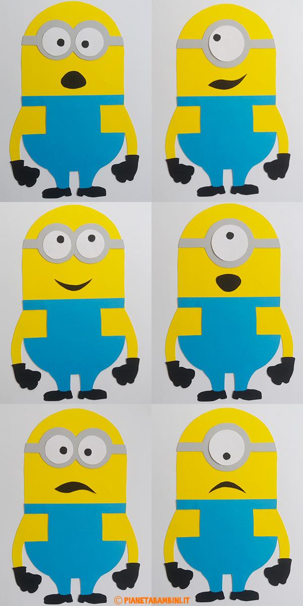 I Minions di cartoncino con espressioni modificabili