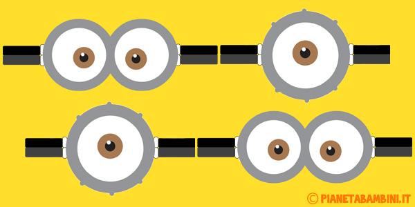 Occhiali dei Minions da stampare gratis per decorazioni
