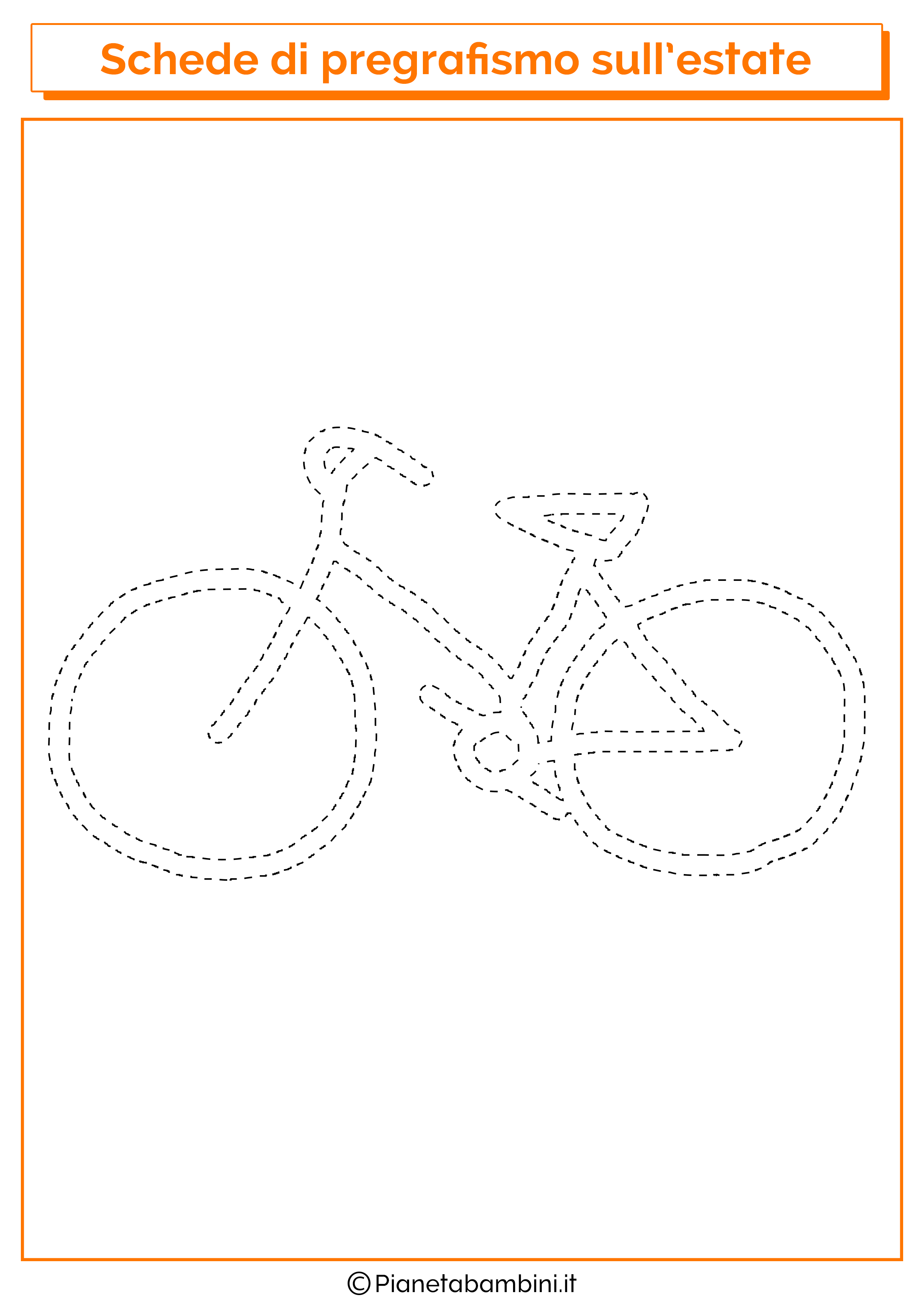 Scheda di pregrafismo sulla bicicletta