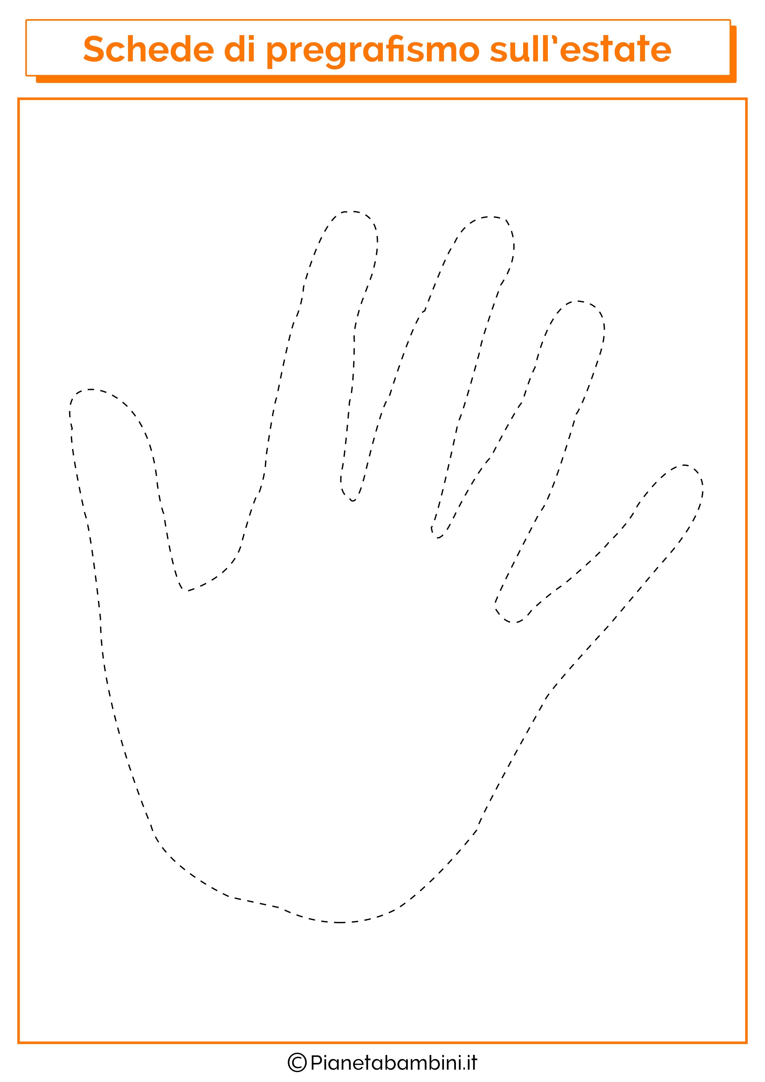 Scheda di pregrafismo sulla mano