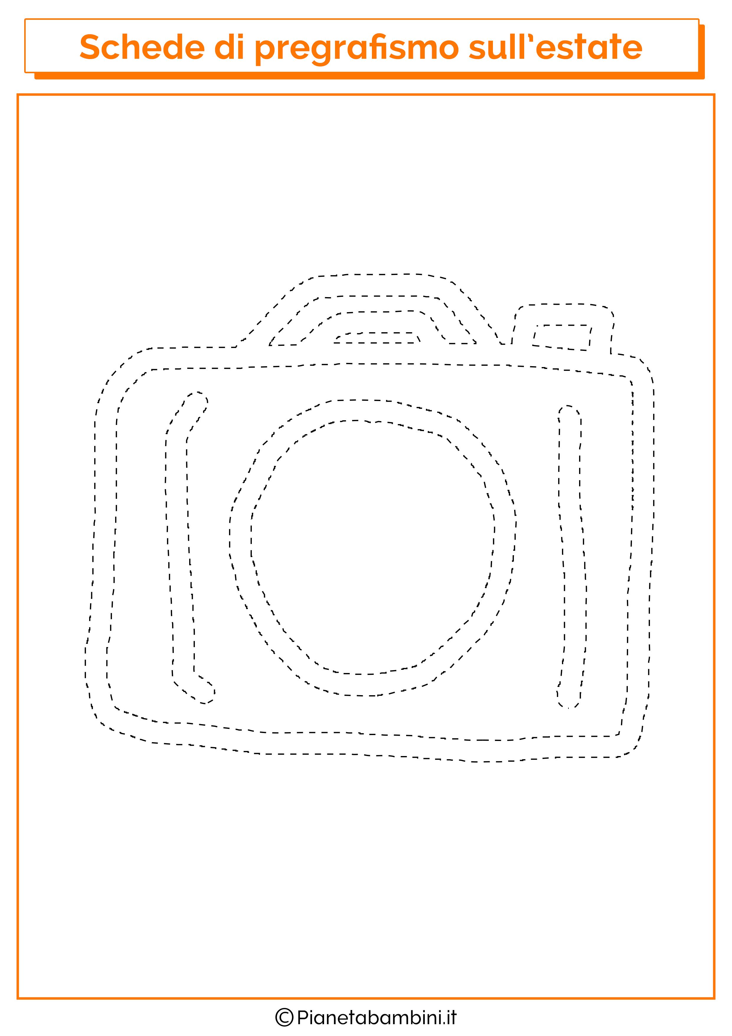 Scheda di pregrafismo sulla macchina fotografica