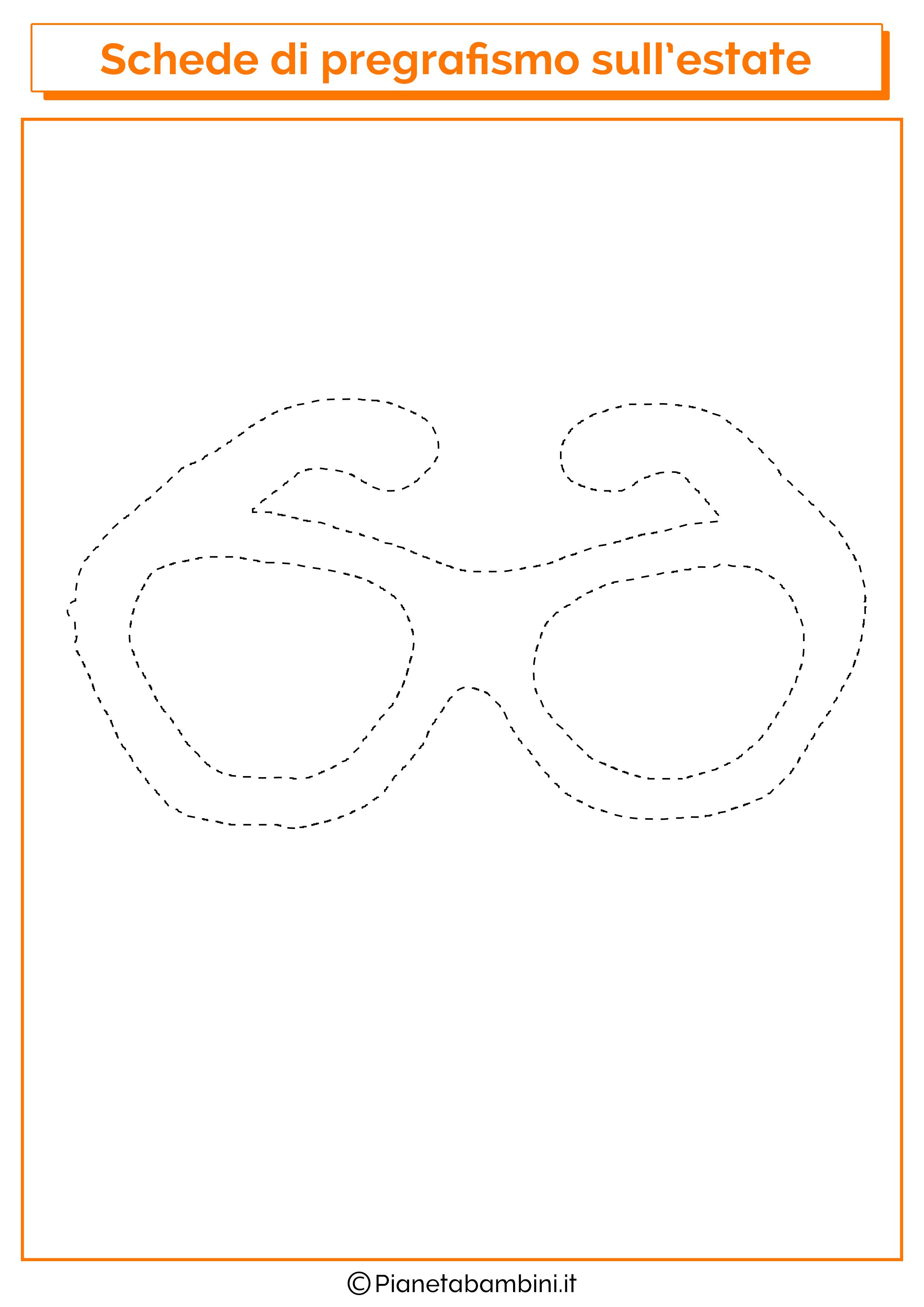 Scheda di pregrafismo sugli occhiali da sole
