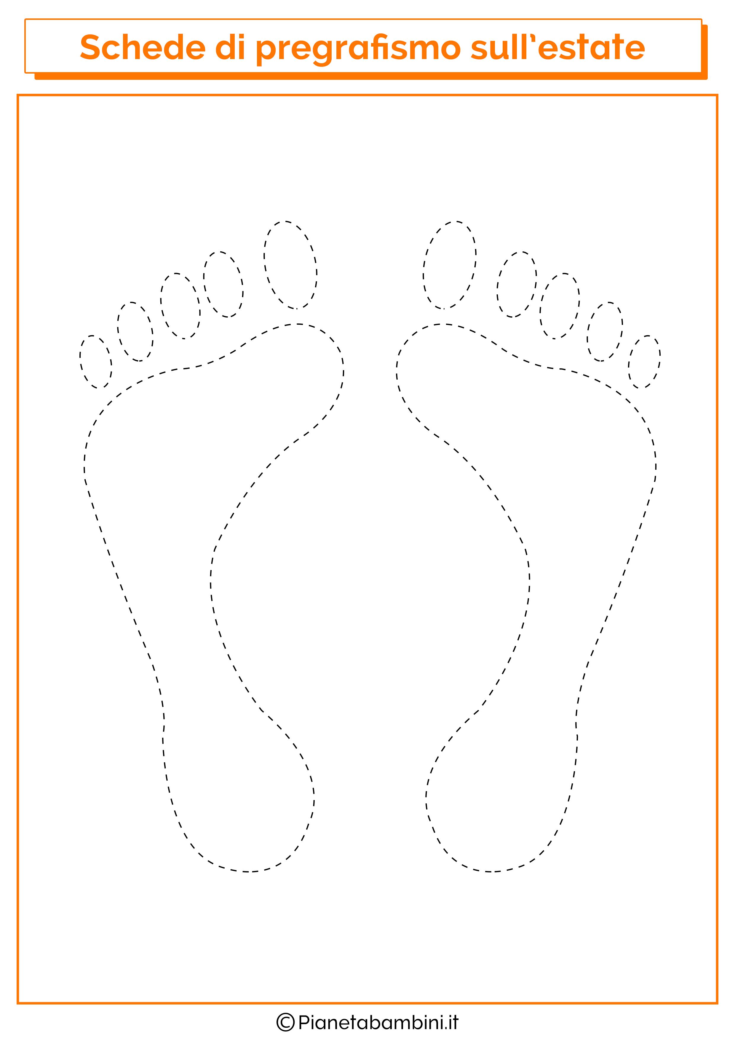 Scheda di pregrafismo sulle orme dei piedi