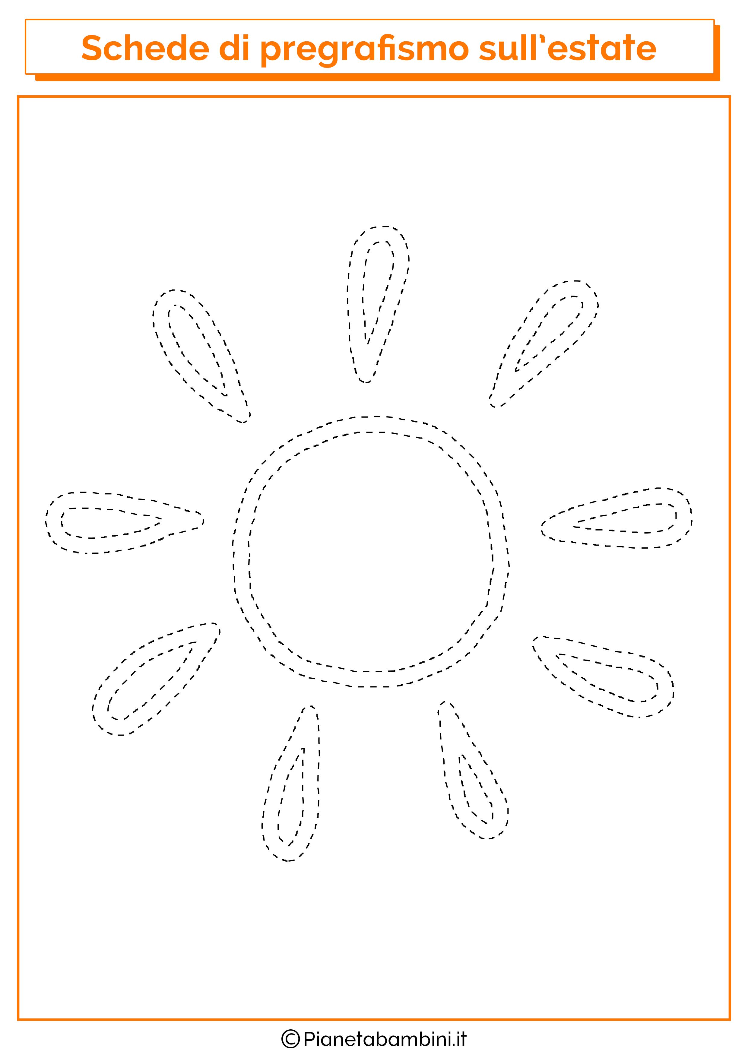 Schede di pregrafismo sull 39 estate per la scuola dell for Sole disegno da colorare
