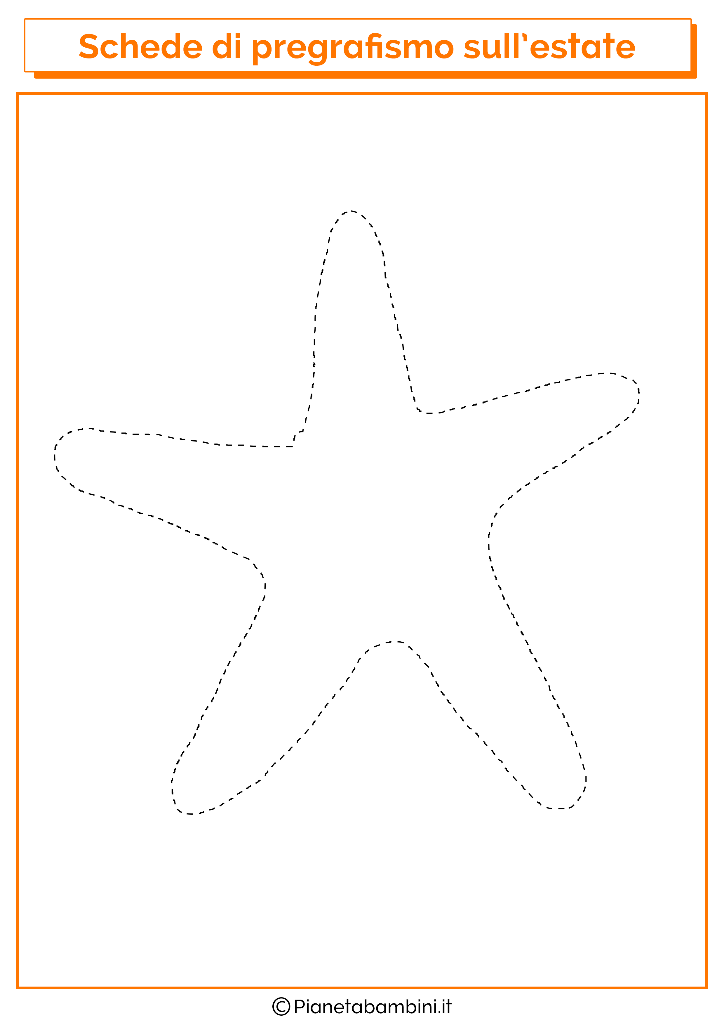 Scheda di pregrafismo sulla stella marina