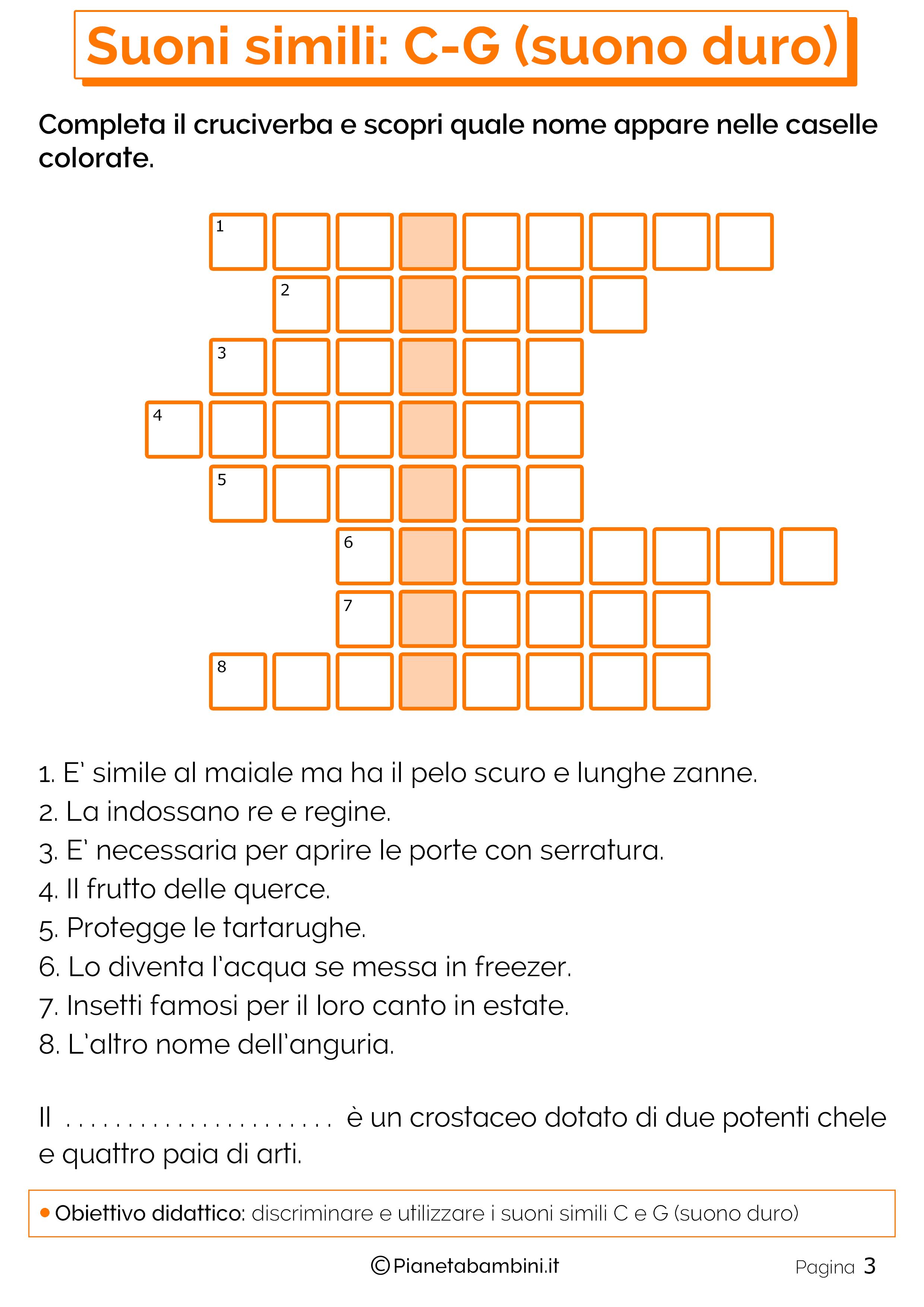 Schede didattiche C o G suono duro pagina 3