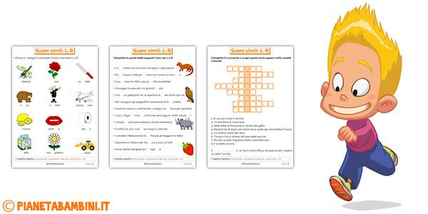 Schede didattiche su L R per bambini della scuola primaria