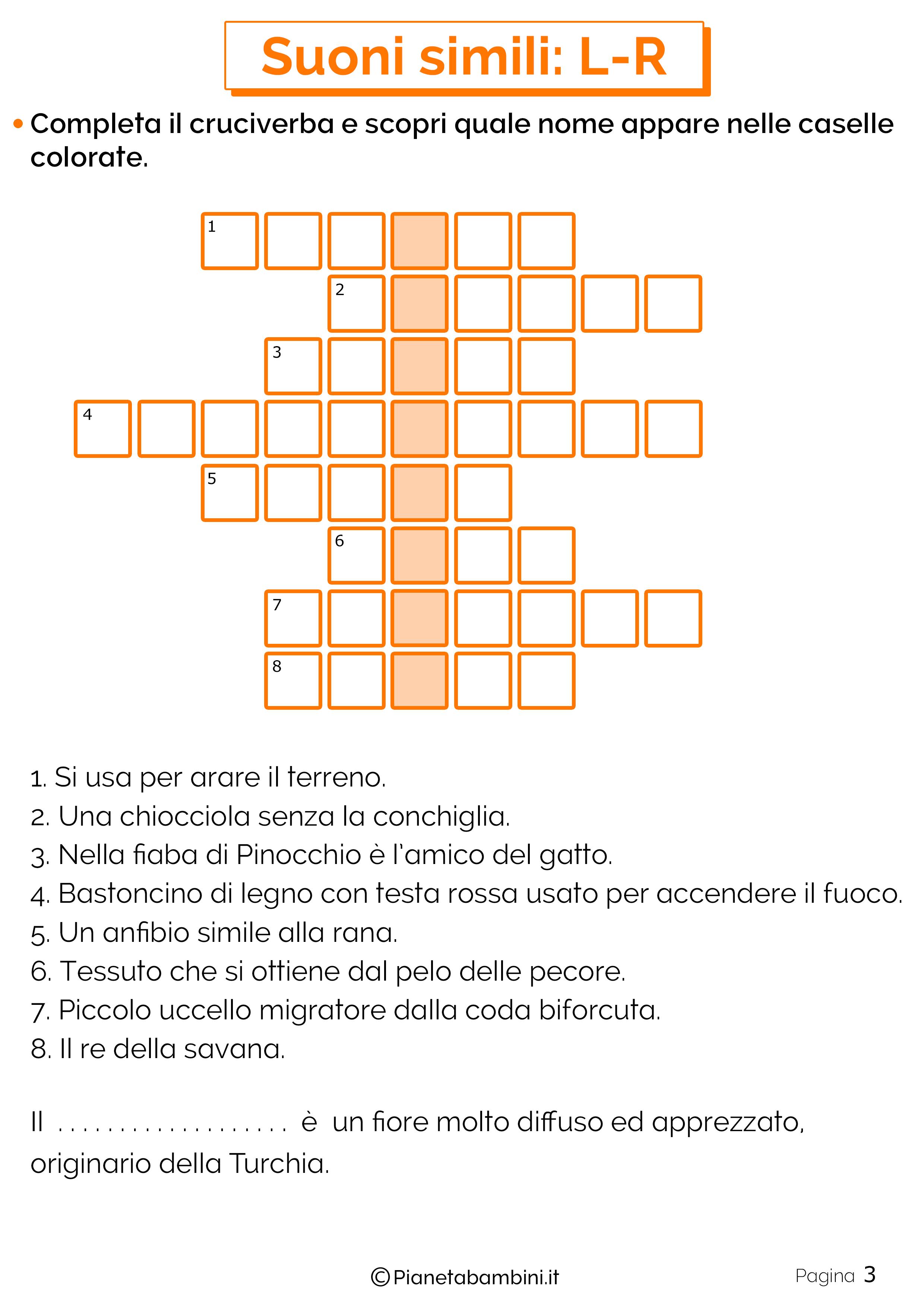 Schede didattiche sui suoni simili L o R pagina 3