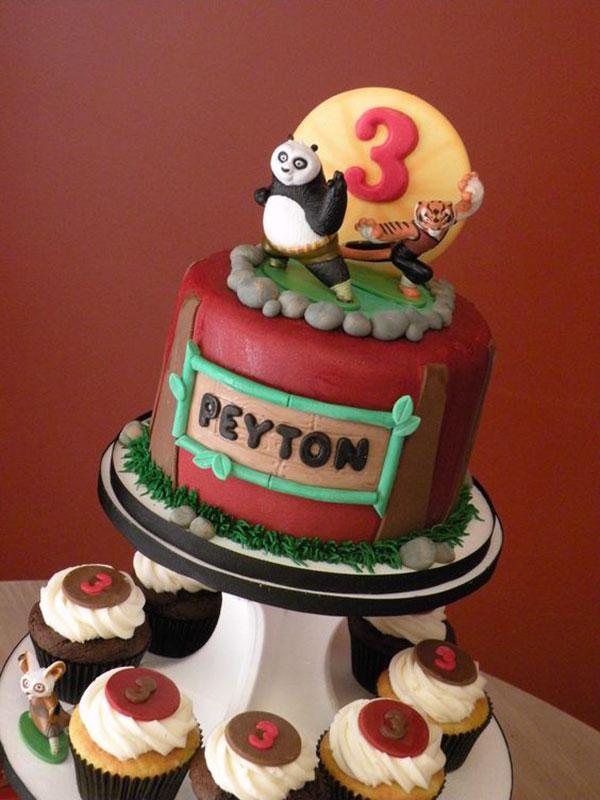 Torta di Kung Fu Panda con decorazioni in pasta di zucchero n.01