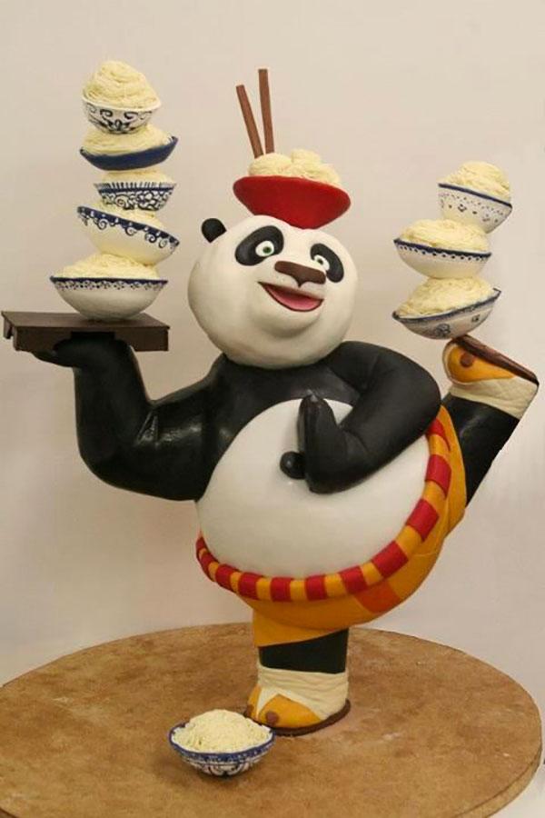 Torta di Kung Fu Panda con decorazioni in pasta di zucchero n.03