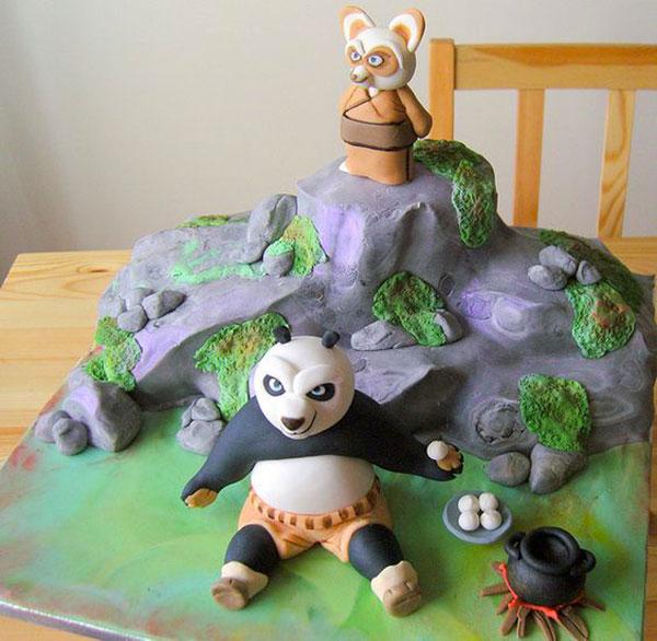 Torta di Kung Fu Panda con decorazioni in pasta di zucchero n.05