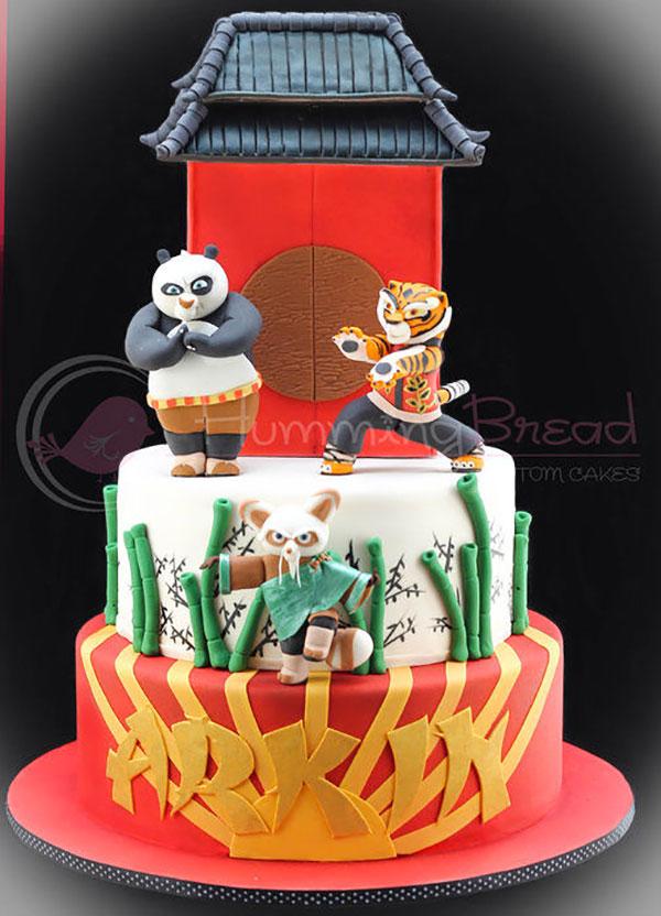 Torta di Kung Fu Panda con decorazioni in pasta di zucchero n.08