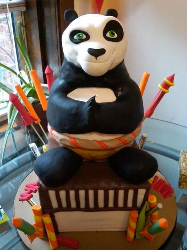 Torta di Kung Fu Panda con decorazioni in pasta di zucchero n.09