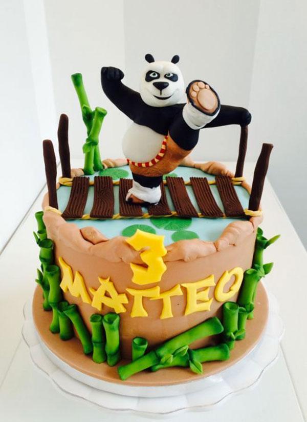 Torta di Kung Fu Panda con decorazioni in pasta di zucchero n.10