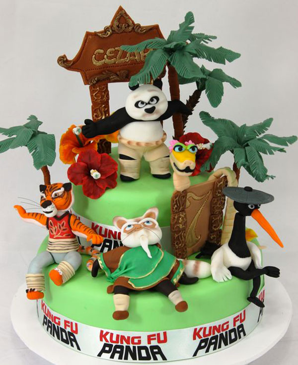 Torta di Kung Fu Panda con decorazioni in pasta di zucchero n.12