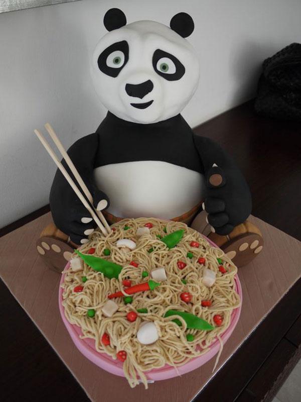 Torta di Kung Fu Panda con decorazioni in pasta di zucchero n.15
