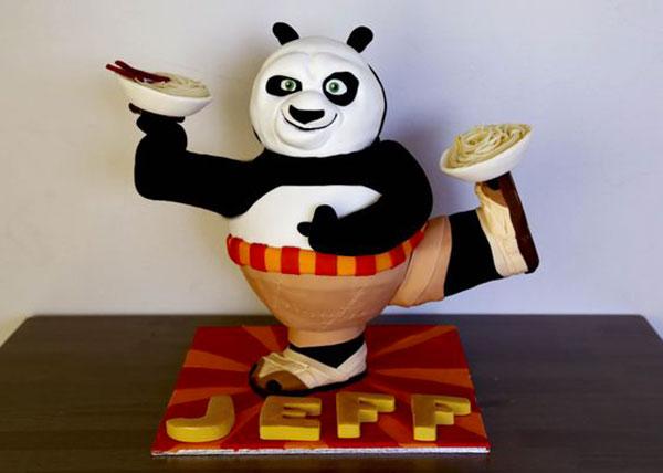 Torta di Kung Fu Panda con decorazioni in pasta di zucchero n.16