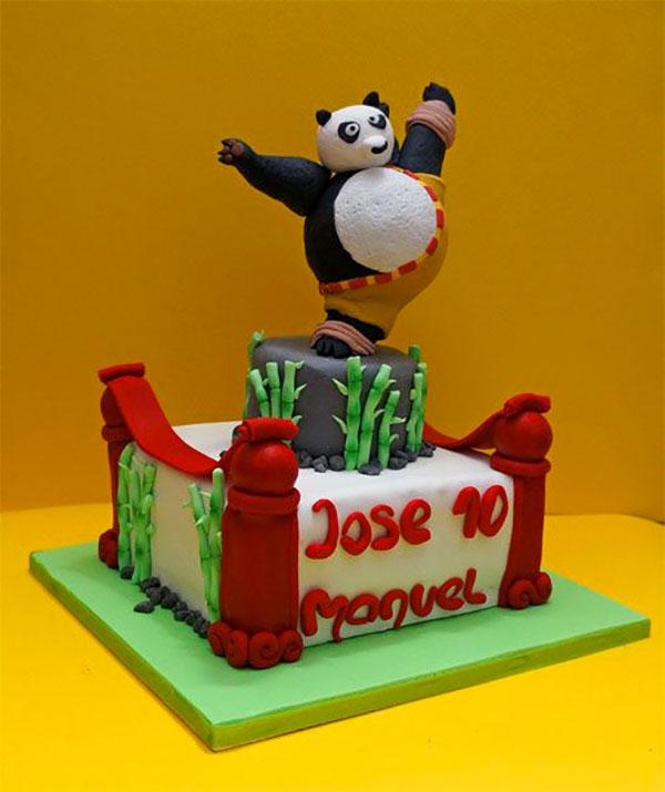 Torta di Kung Fu Panda con decorazioni in pasta di zucchero n.17