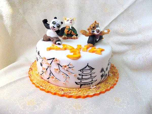 Torta di Kung Fu Panda con decorazioni in pasta di zucchero n.23