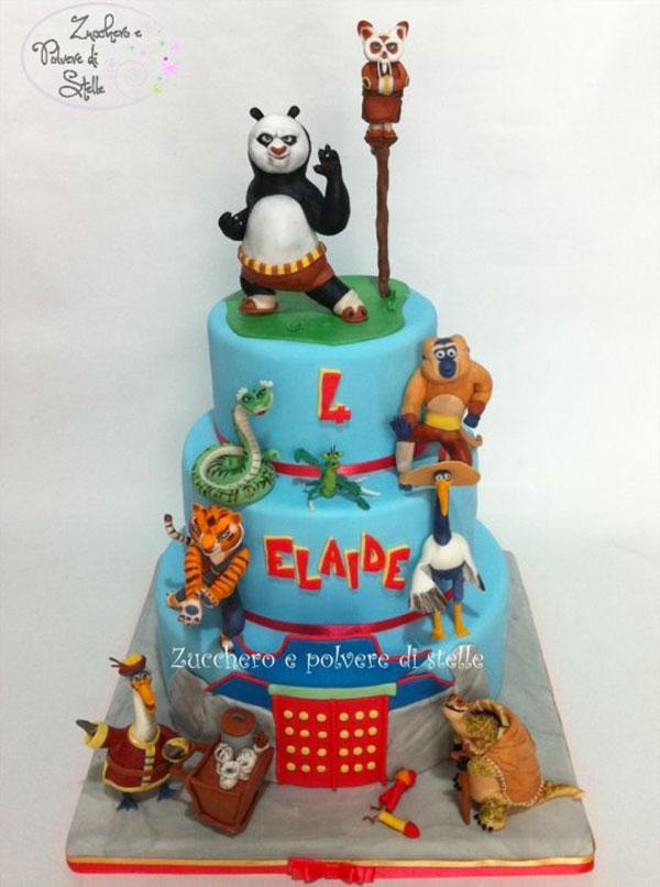 Torta di Kung Fu Panda con decorazioni in pasta di zucchero n.25