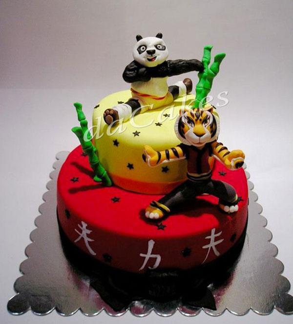 Torta di Kung Fu Panda con decorazioni in pasta di zucchero n.26
